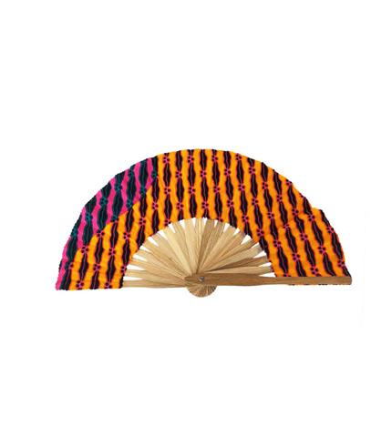 Orange Bamboo Hand Fan