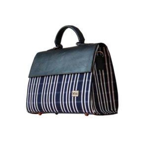 Smock Designed Ladies Bag - Dark Blue & Black