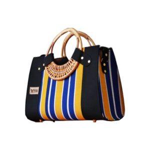 Yellow & Blue Smock Designed Ladies Bag