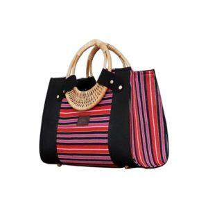 Pink Smock Designed Ladies Bag - Horizontal Stripes