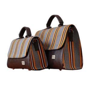 Smock Designed Ladies Bag - Yellow & Brown