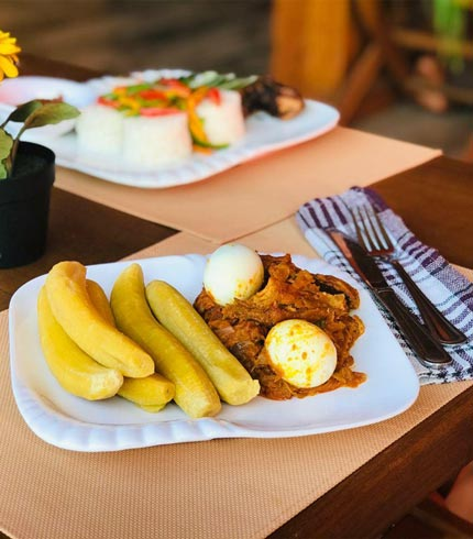 Plantain with Egg and Stew