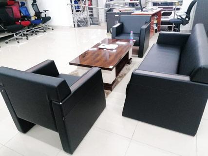 Black Leather Furniture Set