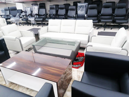 White Leather Furniture Set