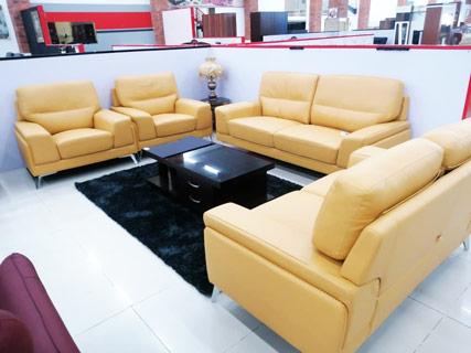 Yellow Leather Furniture Set