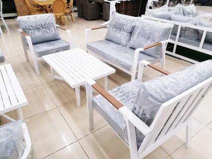 White & Brown Garden Furniture Set