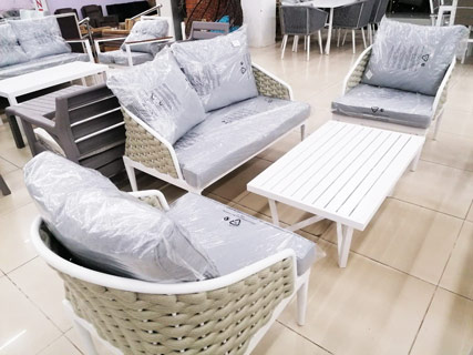 White & Green Garden Furniture Set