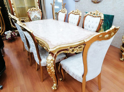 Gold & White Dining Room Furniture Set