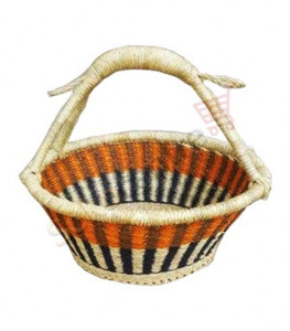 Orange Design Hand-Woven Basket