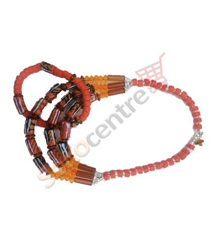 Beaded Necklace and Bracelet - Orange