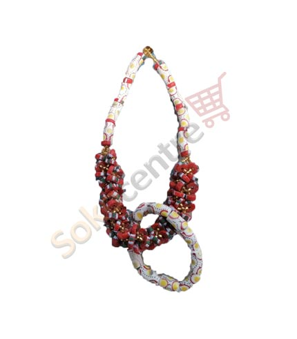 Red Beaded Necklace and Bracelet
