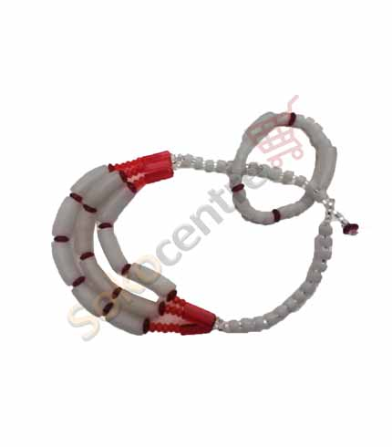 White & Red Beaded Necklace and Bracelet