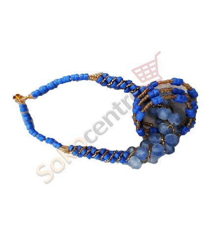 Blue Beaded Necklace and Bracelet