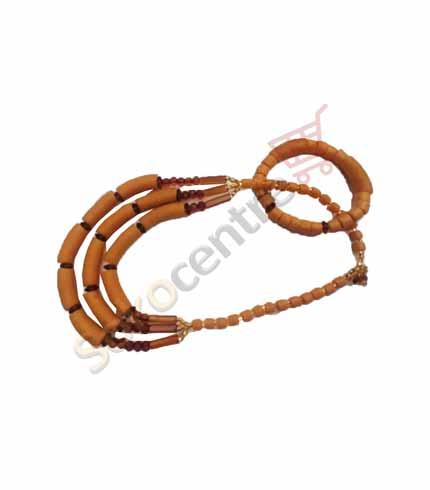 Orange Beaded Necklace and Bracelet