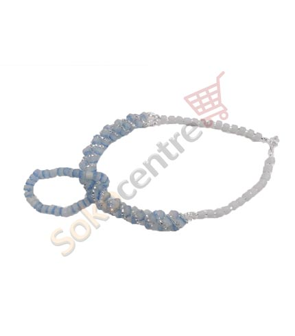 Sea Blue Beaded Necklace and Bracelet