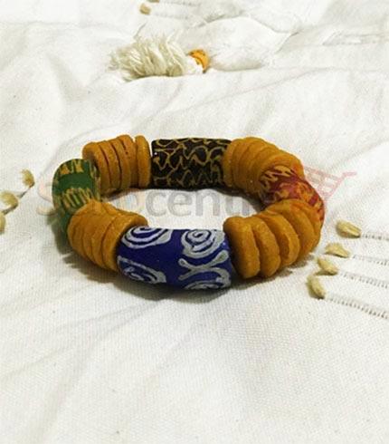 Blue & Yellow Beaded Bracelet