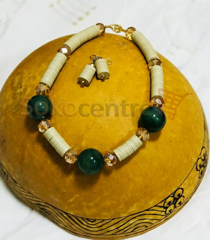 Cream Beaded Necklace and Earrings