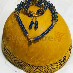 Beaded Necklace, Bracelet and Earrings - Blue