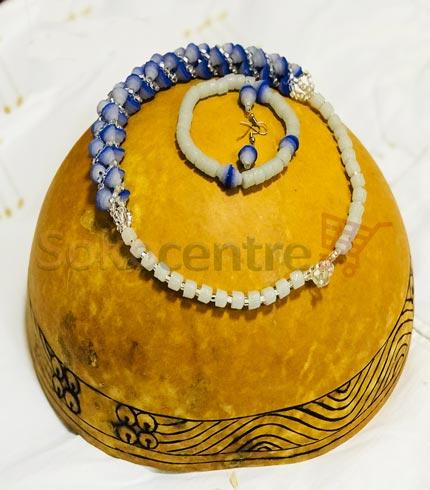 Beaded Necklace, Bracelet and Earrings - Sea Blue