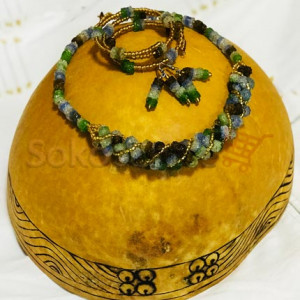Beaded Necklace, Bracelet and Earrings - Green