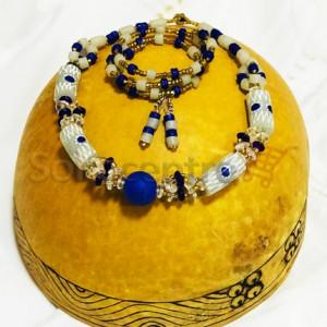 Beaded Necklace, Bracelet and Earrings - White & Blue