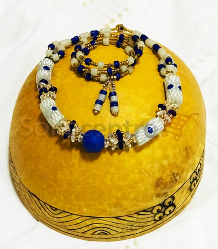 Beaded Necklace, Bracelet and Earrings - White & Blue