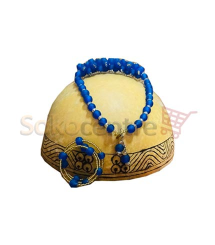 Blue Beaded Necklace, Bracelet and Earrings