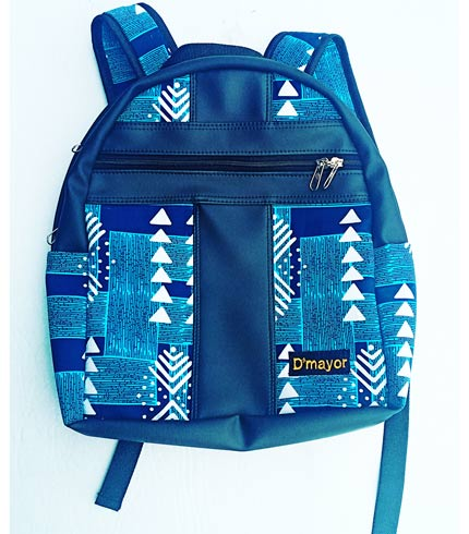 Blue African Print Backpack