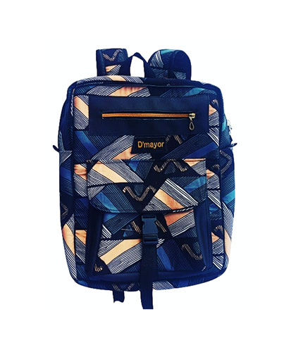 Dark Blue African Print Backpack