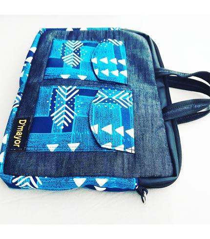 Blue African Print Laptop Bag