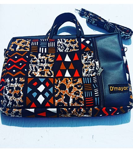 Multicolored African Print Laptop Bag (Leather Front)