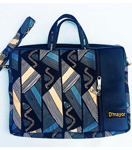 Dark Blue African Print Laptop Bag