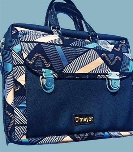 African Print Laptop Bag - Dark Blue