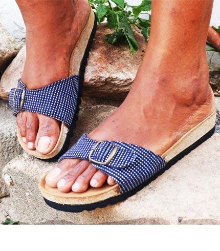 Blue Smock Designed Slippers