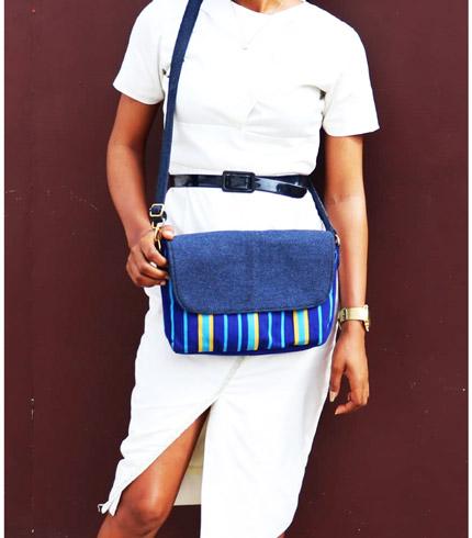 Blue Smock Designed Handbag