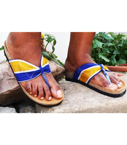 Blue & Yellow Smock Designed Slippers