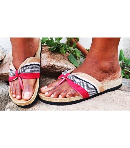 Pink & Grey Smock Designed Slippers
