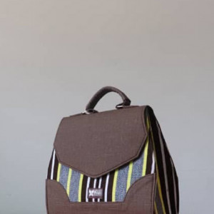 Brown & Grey Fugu Handbag