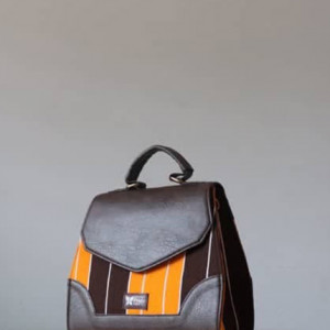 Brown & Yellow Fugu Handbag