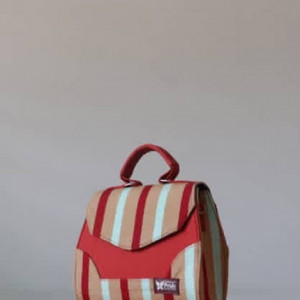 Cream & Red Fugu Handbag