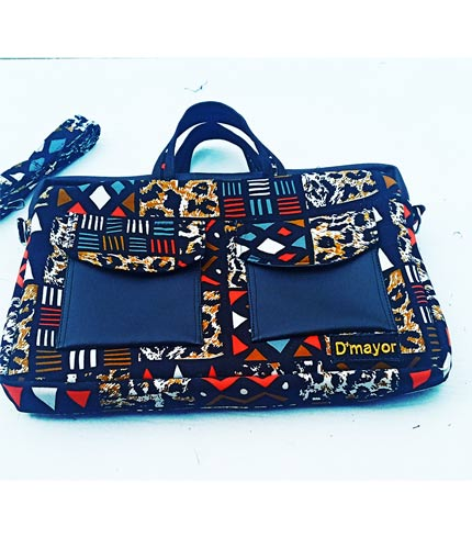 Multicolored African Print Laptop Bag