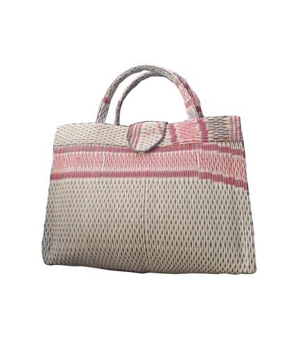 Cream & Pink Handwoven Shopping Handbag