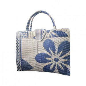 Cream & Blue Handwoven Shopping Handbag