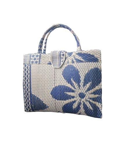 Cream & Blue Handwoven Shopping Handbag
