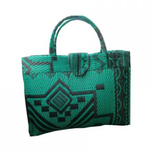 Green Handwoven Shopping Handbag