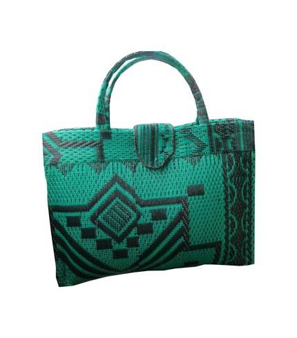 Green Handwoven Shopping Handbag