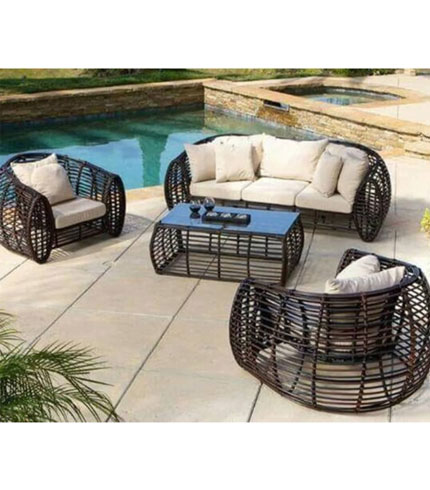 Brown Woven Furniture Set