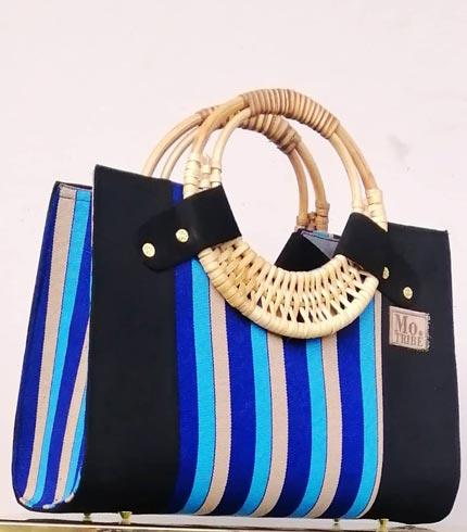 Black & Blue Smock Design Handbag