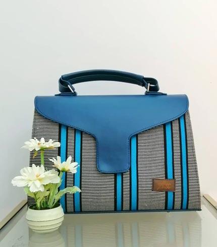 Blue & Black Smock Design Handbag