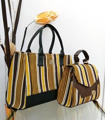 Gold & Brown Smock Design Bag